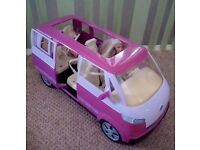 Barbie horse and trailer, pool party boat, transporter van and Tanner the dog with dolls for sale