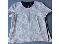 New OASIS Size 16 Top / Shirt: Knit and Cotton with Black Trim