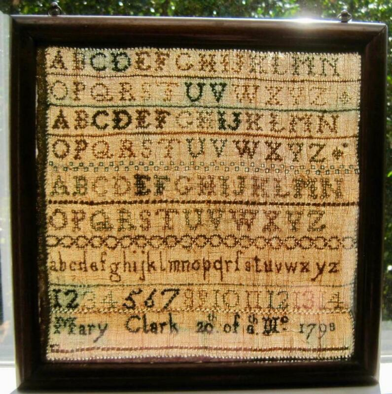 """1798 Needlework Sampler Mary Clark framed glass on both Sides 11"""" x 11"""" Antique"""