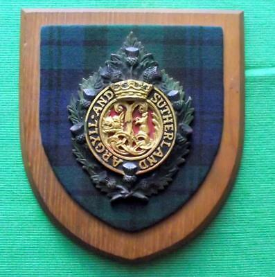 Old Scottish Carved Oak Clan Argyll Sutherland Highlanders Plaque Crest Shield