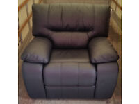 LEATHER EXECUTIVE RECLINER ARMCHAIR CHAIR RECLINING - BRAND NEW - EX DISPLAY