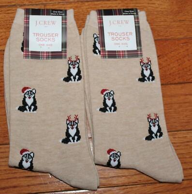 TWO (2) NWT J. Crew Womens Trouser Socks Siberian Husky Snow Dogs Huskies *3E