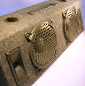 Carpeted Floor Twin Speaker Unit for Mobile Disco x2 Bass x2 Tweeters (WH_3004)