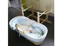 Baby boys moses basket with stand