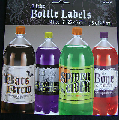 Halloween Getranke (4 Halloween Flasche Etiketten 2 Liter Gruselig Getränke Halloween-Party)