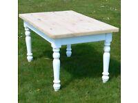 Vintage pine farmhouse dining table seats 8