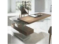 Executive office desk, walnut and glass from Angel Cerda