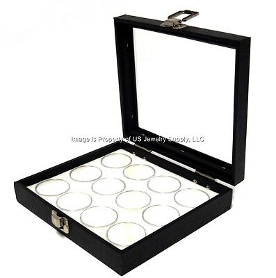 1 Glass Top Lid White 12 Jar Box Case Display Gems Body Jewelry Gold Nuggets