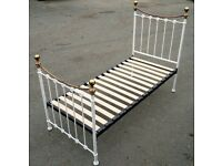 Shabby chic/ Victorian style cream and brass single bed frame 3Ft bed RRP250