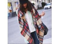 Oversized blanket tartan scarf
