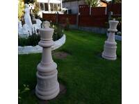 King and queen with plinths;cast stone garden ornament
