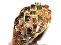 STUNNING 9CT GOLD MEN'S RETRO LATTICE DESIGNED RING SAPPHIRE EMERALD & RUBY GEMS WORK OF ART MADENG