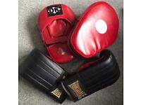 Pair of Boxing gloves and pads