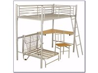METAL FRAME BUNK BED WITH DESK