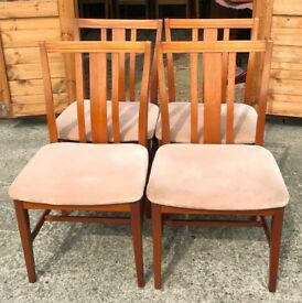4 Teak Dining Chairs - Large Chairs Vintage Retro - Delivery Available