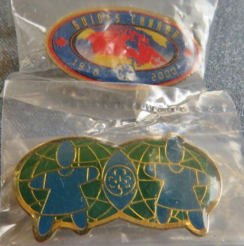 Two Girl Guides of Canada Pins 1910-2000 Commemorative + Two Worlds