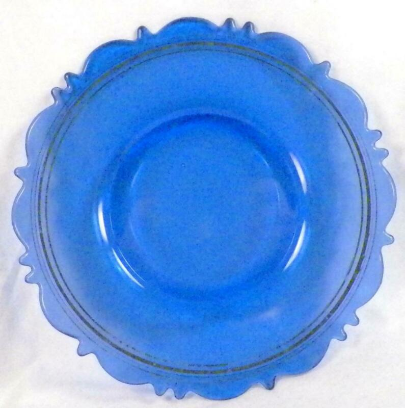 Mt. Pleasant Blue Depression Glass Plate L E Smith Vintage Silver Bands 8 inch