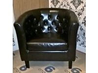 Two excellent condition Chesterfield leather Tub Chairs.