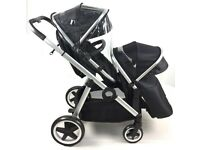 Double Tandem Duo Twin Pram Black Buggy Stroller Pushchair Travel System & Changing Bag / Raincover