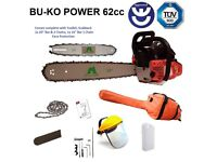 """BU-KO 62cc Petrol Chainsaw 3.4HP 20"""" Bar with 2 Chains and 16"""" Bar with 2 Chains - Cover bag"""