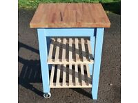 Painted Butcher's Block - Wheeled Kitchen Trolley Island - Cornflower Blue