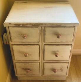 BEAUTIFUL DISTRESSED/WAXED DRAWER SET. USED IN DINING ROOM.