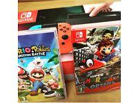 Nintendo Switch + Mario Odyssey and Mario Rabbids