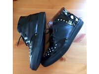 Very Rare Kurt Geiger Black Studded Leather Ankle Boots