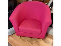Pink fabric tub Chair
