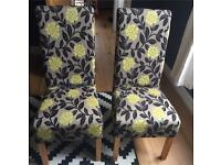 Two high back skirted print dining chairs - REDUCED