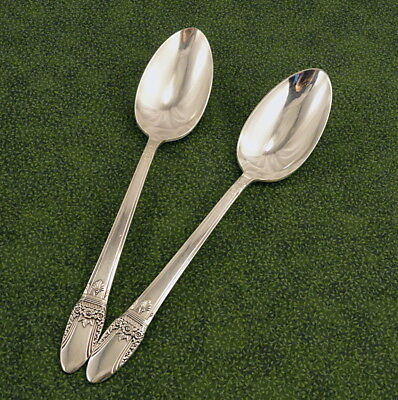 2 Serving Spoons Tablespoons 1847 Rogers Deco First Love Vintage Silverplate