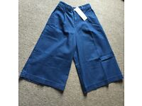 Denim flared cropped trousers