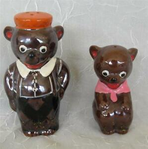 VINTAGE REDWARE BEARS SALT AND PEPPER SHAKERS - PERFECT!