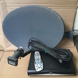 Sky HD box, salellite dish, remote control and cables