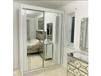 💥💯CLEARENCE ON 2 DOORS SLIDING WARDROBE WITH FULL MIRRORS ALL SHELVES & RAILS INCLUDED