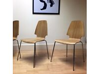 Dining Chairs Set of 4, Modern Oak Style with Chrome Legs