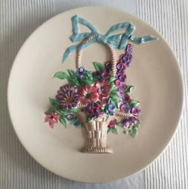 Clarice Cliff collectable - My Garden Basket Of Flowers Wall Plaque Plate