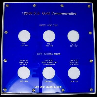 Blue Capital Plastic 10 X 10  6 Hole  20 U S  Gold Commemorative Set