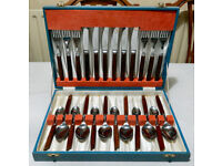 Vintage stainless steel cutlery in canteen, wooden handles