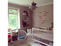 crib cot Oeuf NYC Sparrow designer white solid birch wood cot - full set