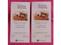 2 Tickets To The Spring Knitting Stitching Show at Olympia, London, March 2018