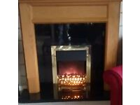 Light Oak Fire Surround with Electric Inset Fire