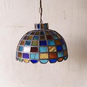 Vintage Tiffany Style Multicolour Slag Glass Chandelier