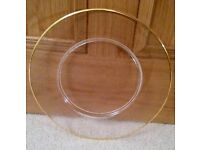 *New Italian Large Clear Glass Cake Plate: Frosted Design & Gold Rim: Wedding / Cake/Cook/ Tableware