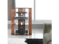 Jual Florence Walnut and Black Toughened Glass Hi Fi Stand