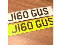 Personalised number plate J160 GUS