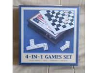 4-in-1 Games Set Wooden – Backgammon Chess Dominoes Checkers