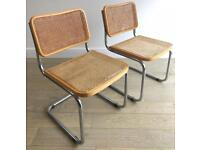 Pair of retro vintage 80s 70s Cesca Chairs designed by Marcel Breuer