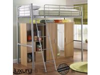 BRAND NEW 2 Door Luxury Mirrored Wardrobe Storage Unit Bedroom Furniture Excluding High Sleeper Bed