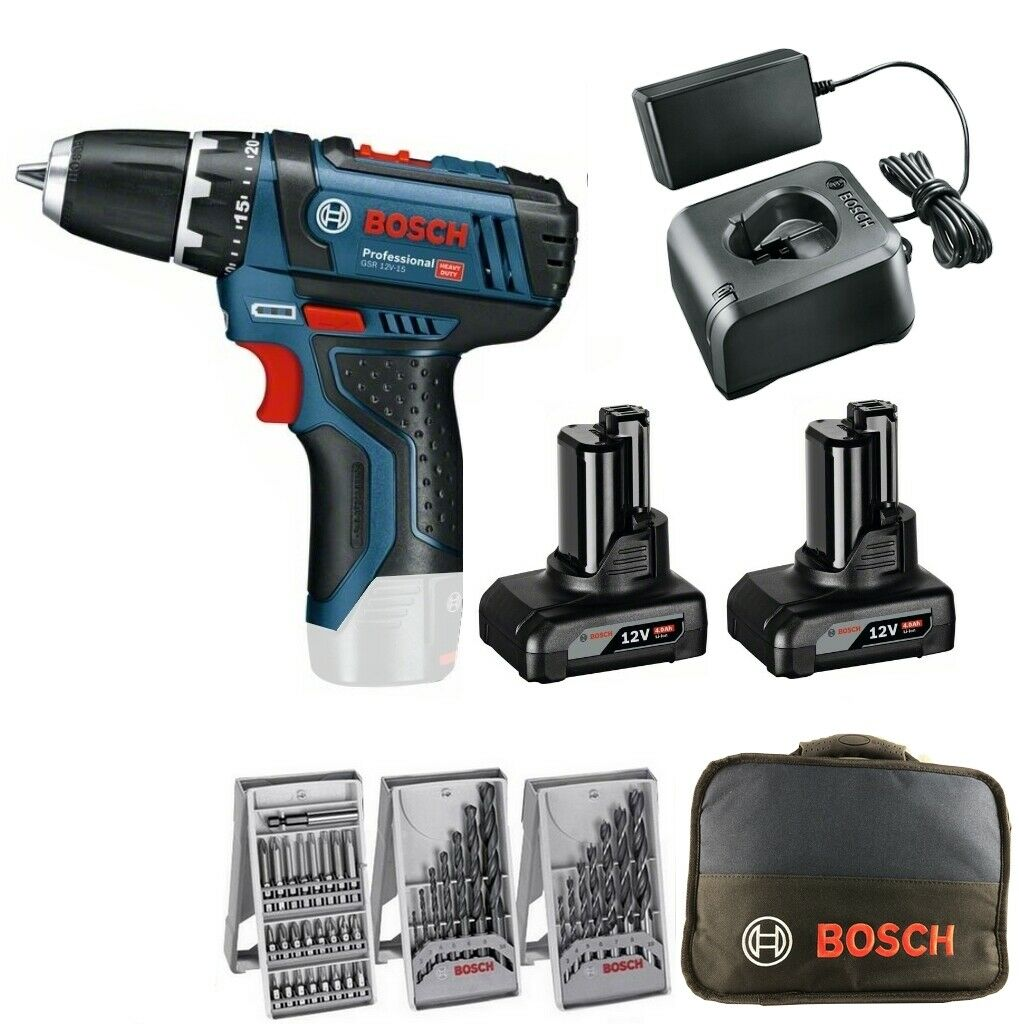 Bosch Akku Bohrschrauber GSR 12V-15 ( 10,8V )2 Akkus 4,0Ah Tasche Bohrer Bits
